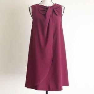 Erin Fetherstone Wine Bow Detail Shift Dress Sz 2